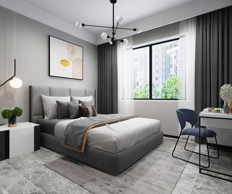 现代卧室, 双人床, 挂画