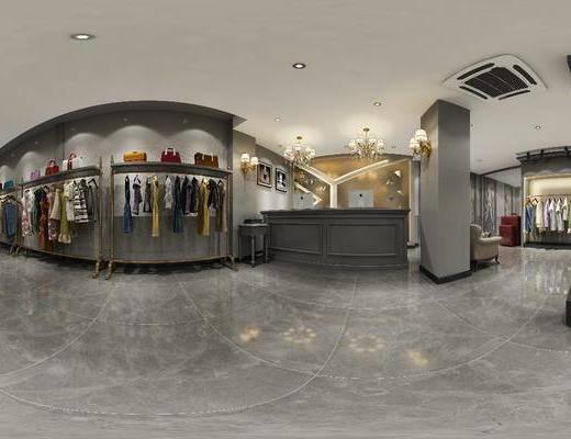 服装专卖店, 工装全景, 衣架, 服饰, 前台, 吊灯, 现代