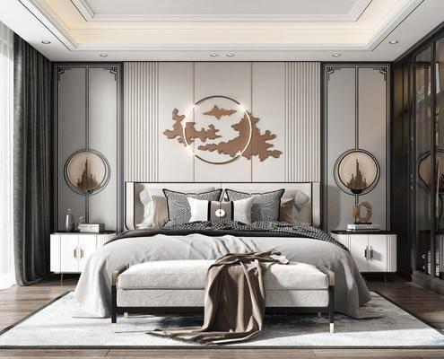 双人床, 床尾踏, 床头柜, 衣柜, 吊灯, 墙饰