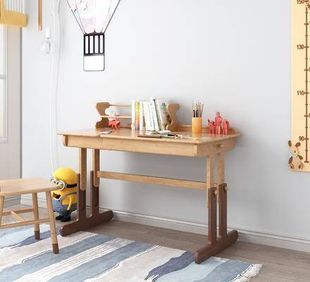 儿童书桌, 桌椅组合, 摆件组合, 实木书桌组合, 北欧
