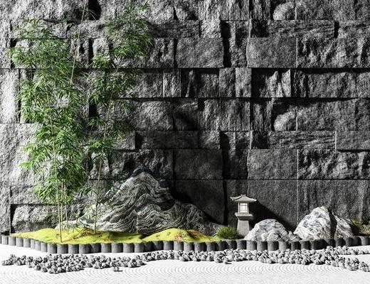 背景墙, 竹子, 植物