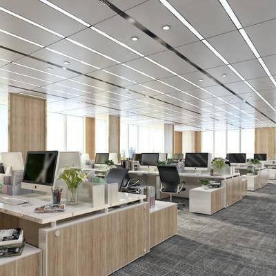 办公区, 办公桌, 电脑, 办公椅, 摆件, 现代简约