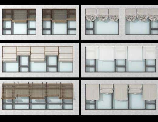 落地窗, 窗帘组合, 现代