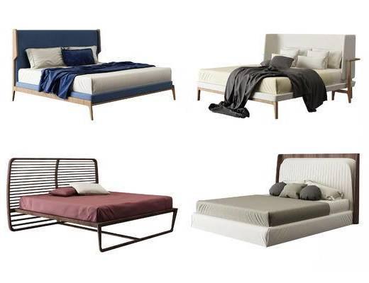 现代, 北欧, 双人床, 床具