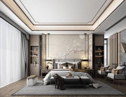 双人床, 背景墙, 单椅, 墙饰, 床尾踏, 地毯
