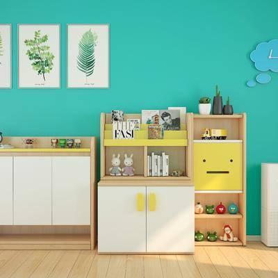 现代储物玄关边柜儿童书柜, 现代, 书柜, 储物柜, 玄关柜, 儿童书柜
