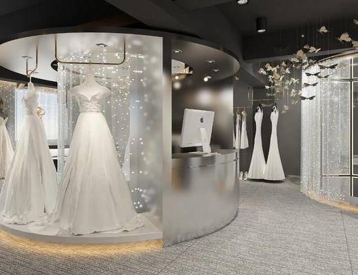 服装店, 服饰, 婚纱, 礼服, 吊灯