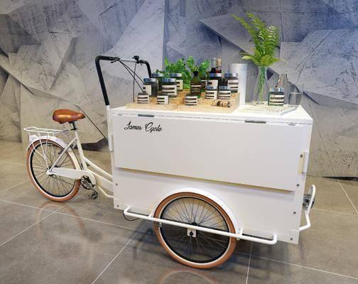 售货车, 三轮车, 摆件, 植物, 盆栽, 北欧