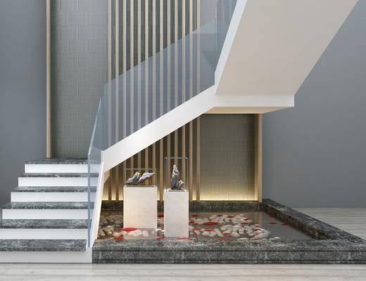 楼梯, 摆件组合, 雕塑, 现代楼梯, 水池