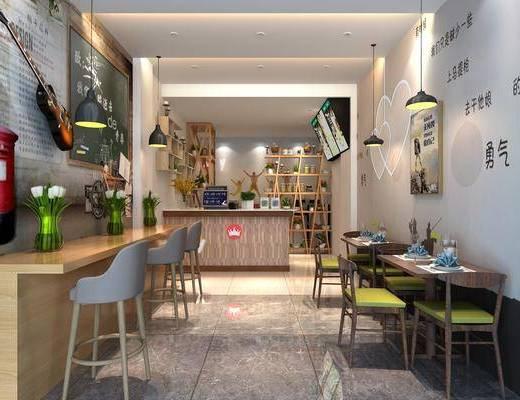 奶茶店, 前台接待, 吧台椅组合, 桌椅组合, 装饰架组合, 摆件组合, 现代