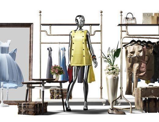 衣服, ?#24405;? 挎包, 置物柜, 植物, 盆栽, 摆件, 装饰品, 装饰画, 女士, 服饰, 人偶, 模特, 箱包, 现代