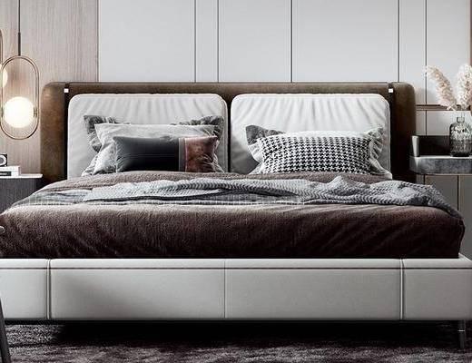 双人床, 吊灯, 床头柜, 摆件组合, 床具组合