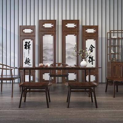 餐桌, 餐椅, 屏风, 装饰架, 盆栽, 摆件, 装饰品, 陈设品, 中式