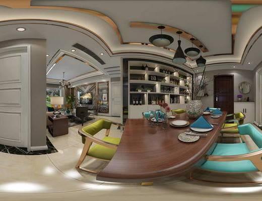 后现代客餐厅全景, 餐桌椅组合, 电视墙, 吊灯, 酒柜