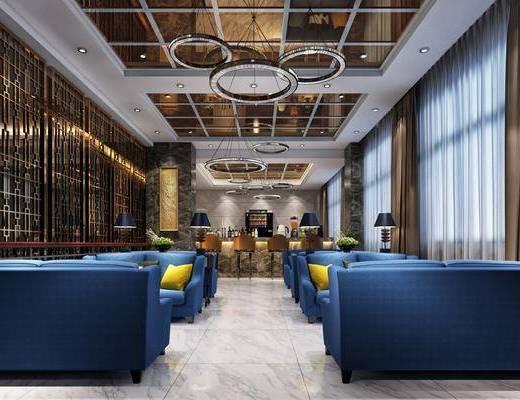 餐厅, 多人沙发, 餐桌, 吊灯, 现代, 后现代
