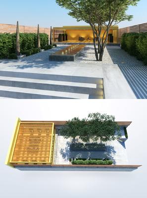 花园庭院, 树木, 植物, 绿植, 现代