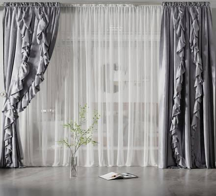 现代丝绸窗帘