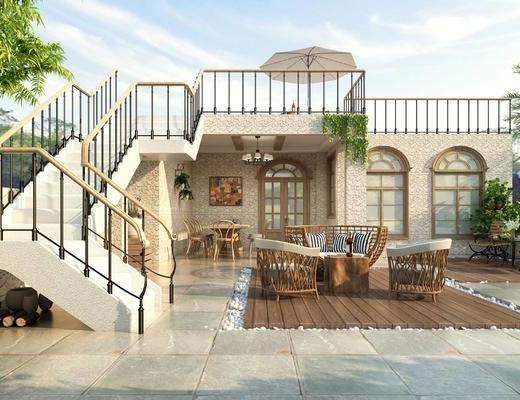 阳台, 露台, 田园, 美式, 桌椅, 楼梯