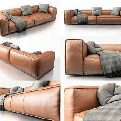 双人沙发, 皮革沙发, 现代