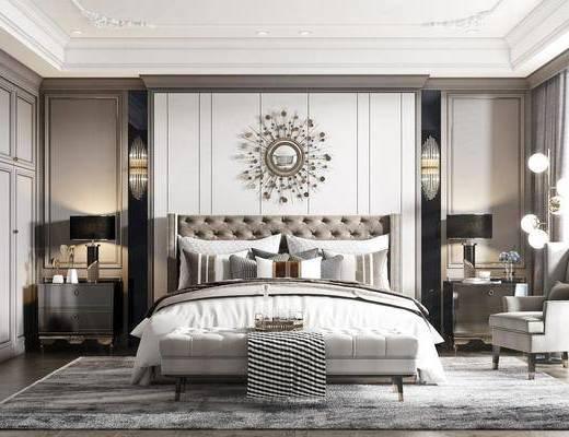美式卧室, 双人床
