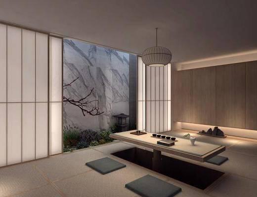 日式茶室, 日式榻榻米, 日式吊灯