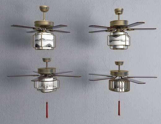 风扇灯, 吊灯, 新中式