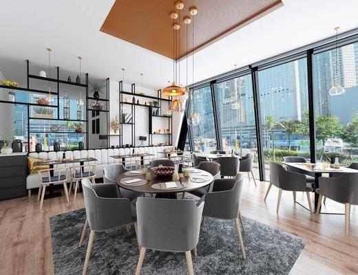 餐厅, 餐桌椅组合, 餐具组合, 装饰架组合, 摆件组合, 装饰品, 陈设品, 卡座地毯, 现代