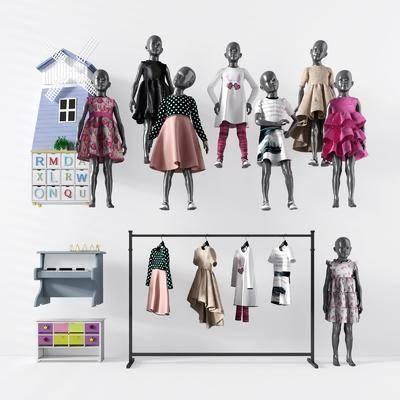 模特, 人偶, 儿童服装, 现代儿童服装, 现代服装, 服装鞋帽, 衣架, 现代, 双十一