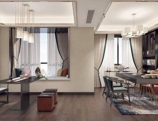 中式书房, 书房, 书桌椅, 茶室