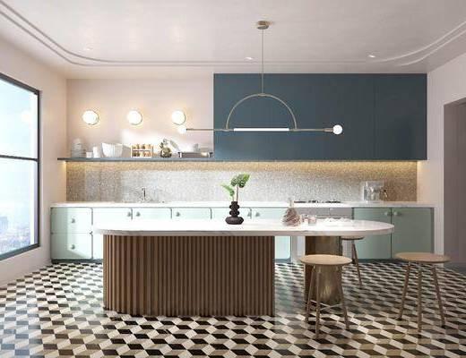 橱柜, 吊灯, 厨具, 吧台