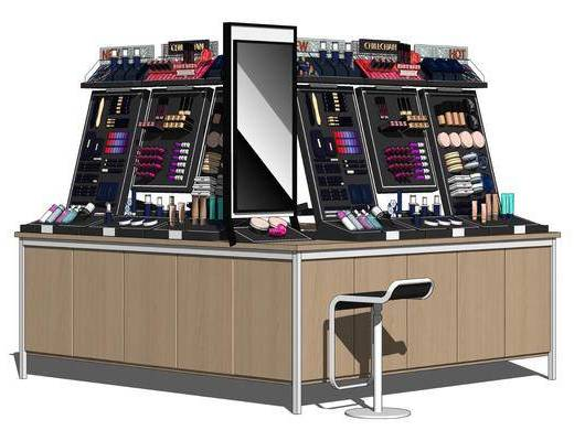 现代化妆品展柜, 展台货架