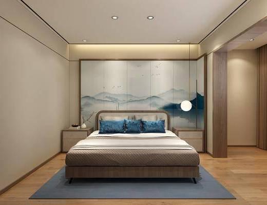 卧室, 床, 双人床, 吊灯, 床头柜, 现代, 新中式