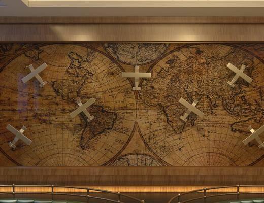 世界地图, 背景墙, 墙饰, 现代