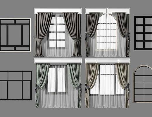 窗帘组合, 窗帘, 现代