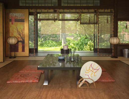室内, 茶几, 落地灯, 摆件, 装饰品, 陈设品, 日式