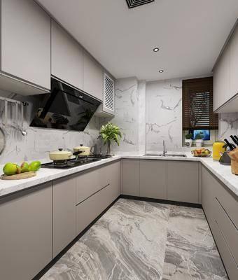 厨房, 橱柜, 厨具, 洗手台, 现代
