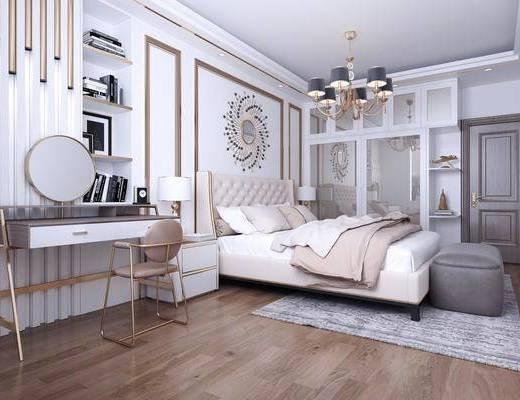 卧室, 双人床, 床尾凳, 墙饰, 书桌, 单人椅, 装饰品, 陈设品, 装饰柜, 衣柜, 床头柜, 台灯, 吊灯, 现代
