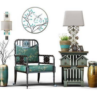 单人椅, 休闲椅, 沙发椅, 装饰品, 摆件, 台灯, 壁灯, 装饰画, 地中海