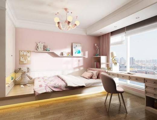 儿童房, 女儿房, 卧室, 现代卧室