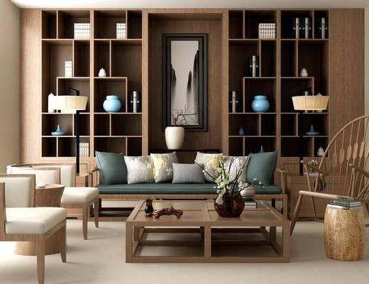多人沙发, 茶几, 凳子, 单人沙发, 单人椅, 装饰柜, 书柜, 摆件, 装饰品, 陈设品, 落地灯, 书籍, 新中式