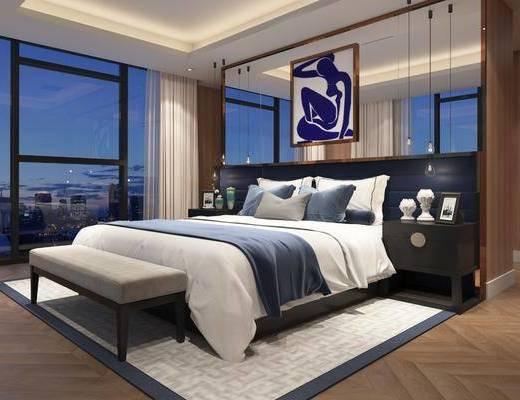 新中式卧室, 卧室, 床, 脚踏, 床头柜