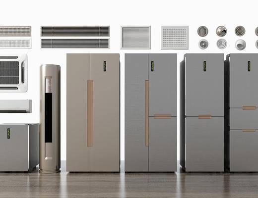 冰箱空调, 冰箱冰柜, 空调风口组合, 现代