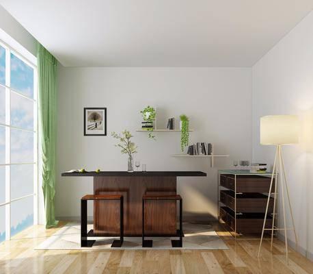 现代茶几, 茶几, 凳子, 边柜, 落地灯, 绿植, 现代