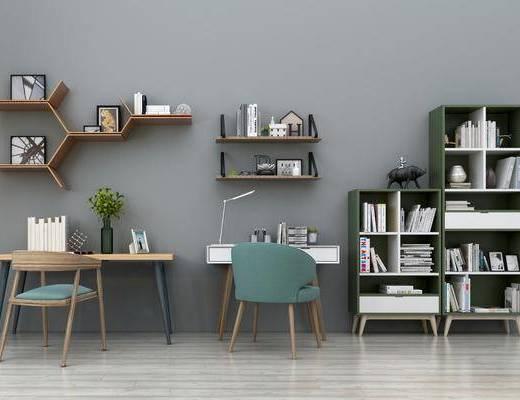 现代书桌椅书柜组合, 现代, 书桌, 椅子, 书柜, 台灯, 书籍, 摆件