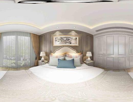 简欧卧室全景, 挂画, 台灯, 床头柜, 电视柜