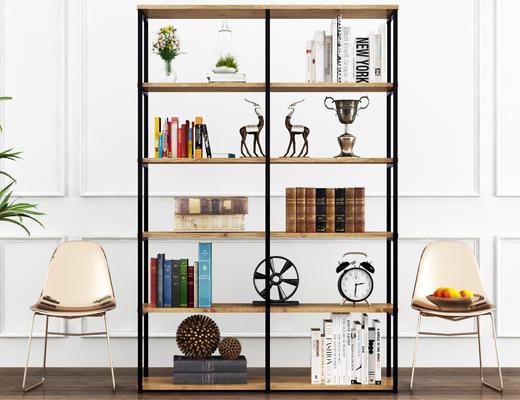 北欧, 书架, 椅子, 书籍, 饰品, 绿植