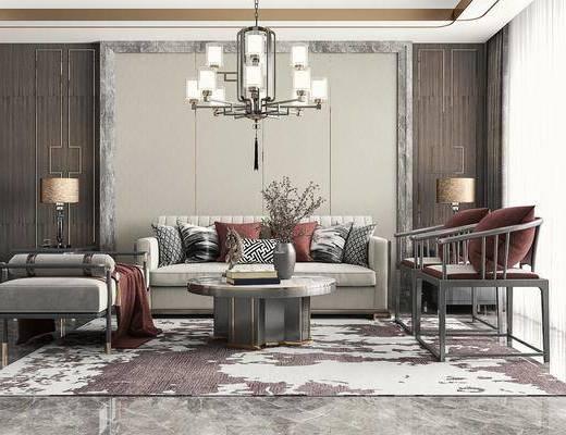 多人沙发, 休闲椅, 吊灯, 台灯, 摆件