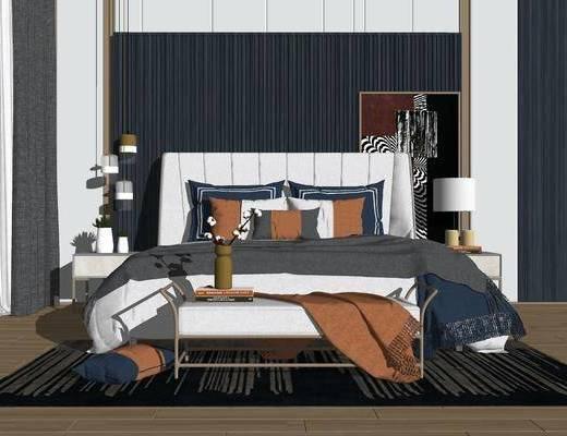 双人床, 床尾踏, 吊灯, 装饰画, 背景墙, 台灯