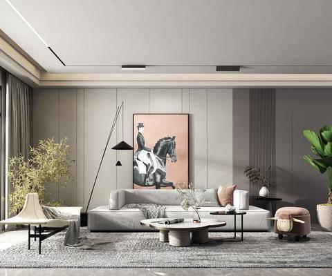 现代客厅, 沙发, 茶几, 挂画, 落地灯