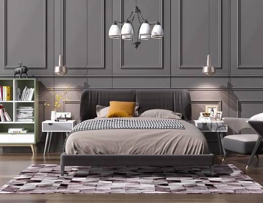 现代床, 北欧床, 现代吊灯, 北欧吊灯, 现代书柜, 北欧书柜, 现代矮柜, 现代, 床, 吊灯
